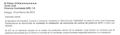 Endesa Distribucion letter re ICP